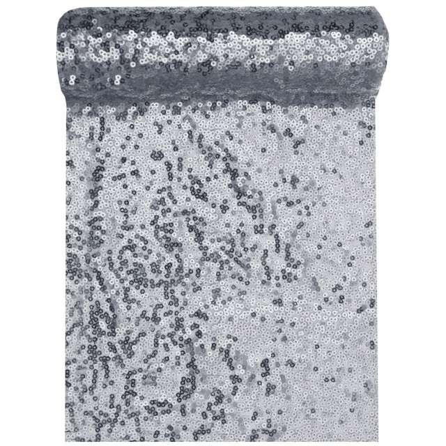 Bieżnik Cekinowy srebrny Santex 300 x 19 cm