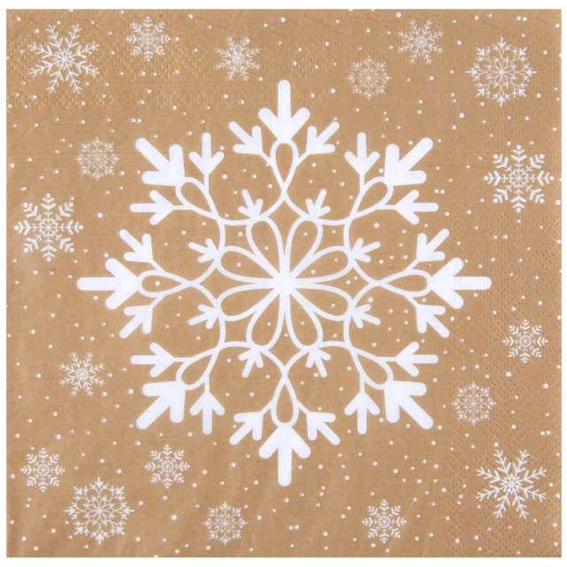 """Serwetki """"Mroźne śnieżynki"""", SANTEX, złote, 33cm, 20 szt"""