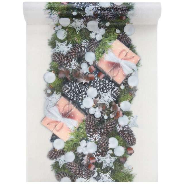 """Bieżnik """"Świąteczny stroik"""", biały, Santex, 500 x 30 cm"""