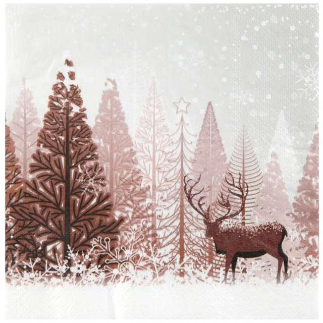 """Serwetki """"Jeleń w zimowym lesie, SANTEX, brąz, 33cm, 20 szt"""