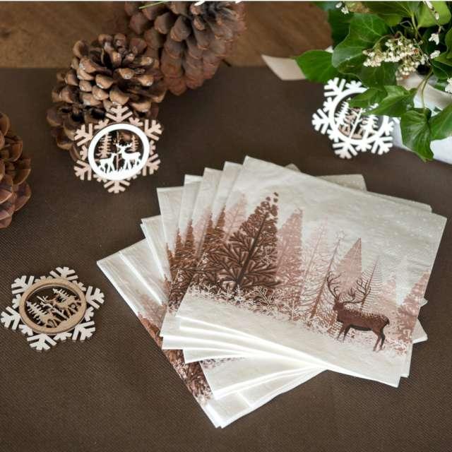 Serwetki Jeleń w zimowym lesie SANTEX brąz 33cm 20 szt