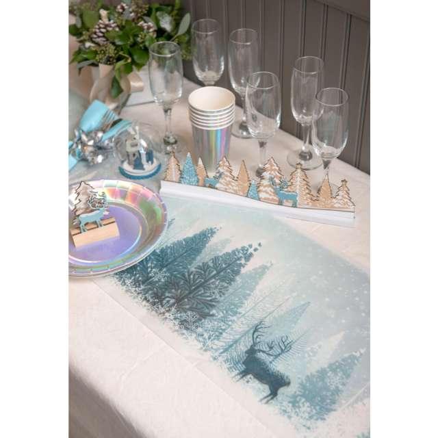 Bieżnik Świąteczny - Zimowy las niebieski Santex 500 x 30 cm