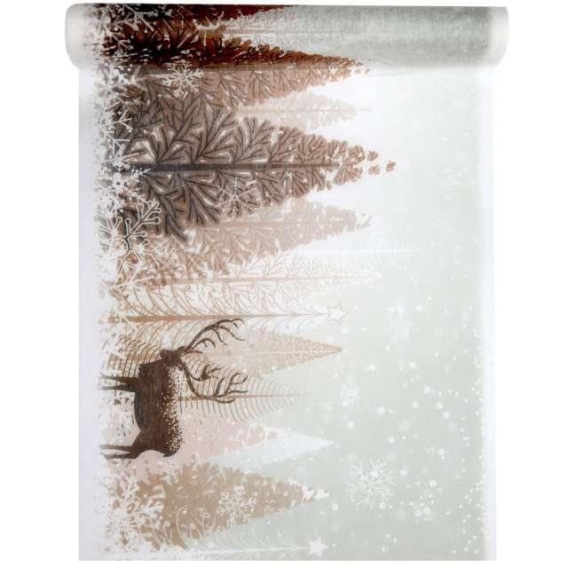 """Bieżnik """"Świąteczny - Zimowy las"""", brązowy, Santex, 500 x 30 cm"""