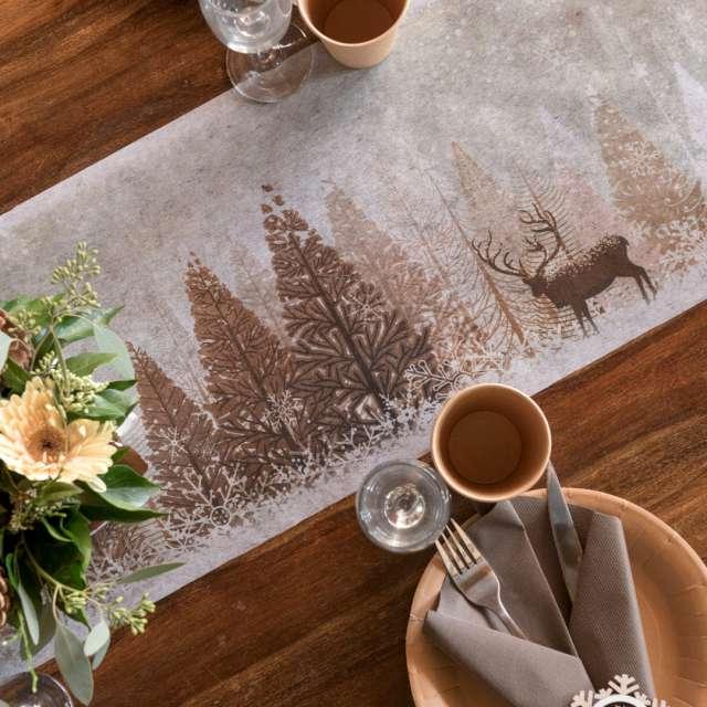 Bieżnik Świąteczny - Zimowy las brązowy Santex 500 x 30 cm
