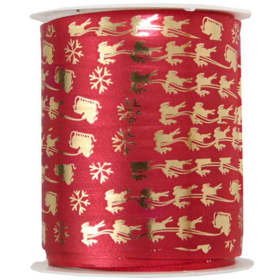 """Wstążka do balonów """"Świąteczne symbole"""", czerwona, SANTEX, 10 mm, 25 m"""