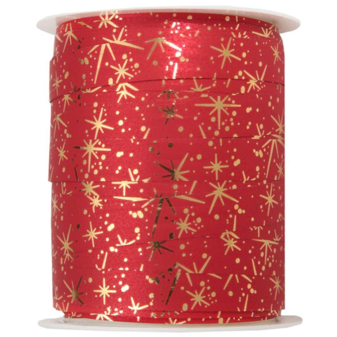 """Wstążka do balonów """"Świąteczne Iskierki"""", czerwona, SANTEX,10 mm x 25 m"""