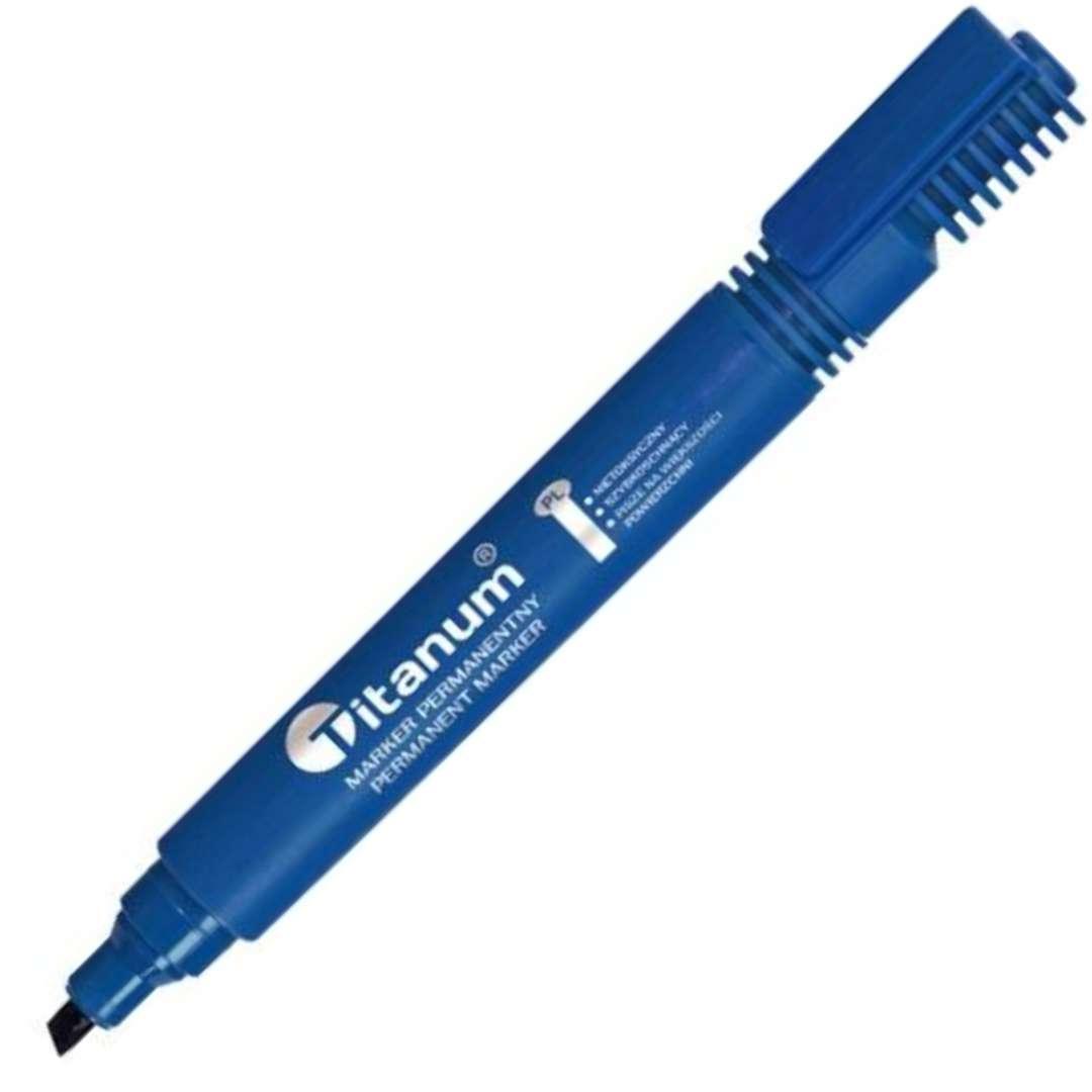 """Marker permanentny """"Ścięty"""", niebieski, Titanum, 1 - 4,2 mm"""