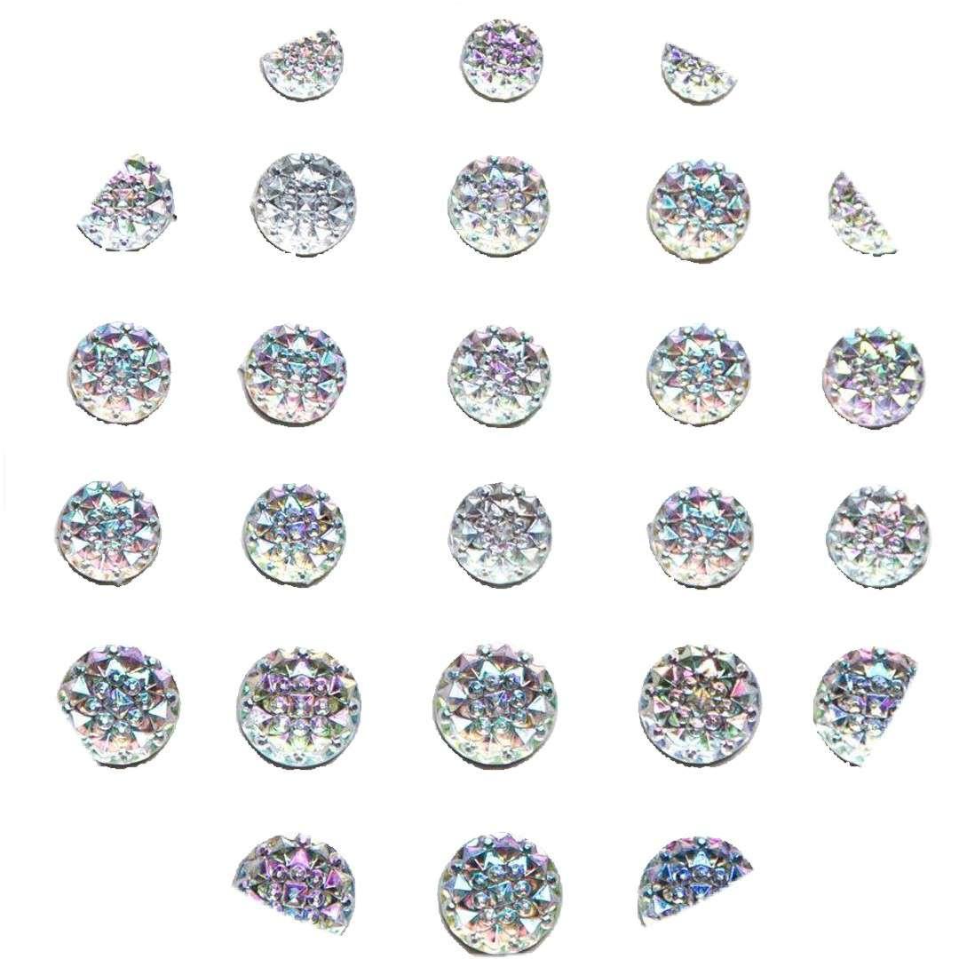 """Dżety samoprzylepne """"Kwiatki"""", srebrne, 6-12 mm, Aliga"""