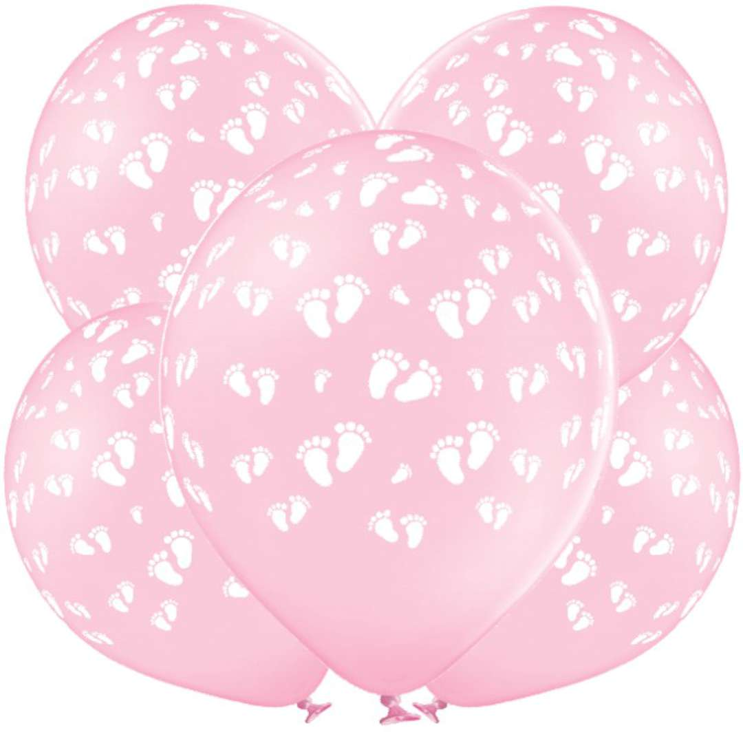 """Balony """"Dziecięce stópki"""", j. różowe, Grabo, 12"""", 5 szt,"""