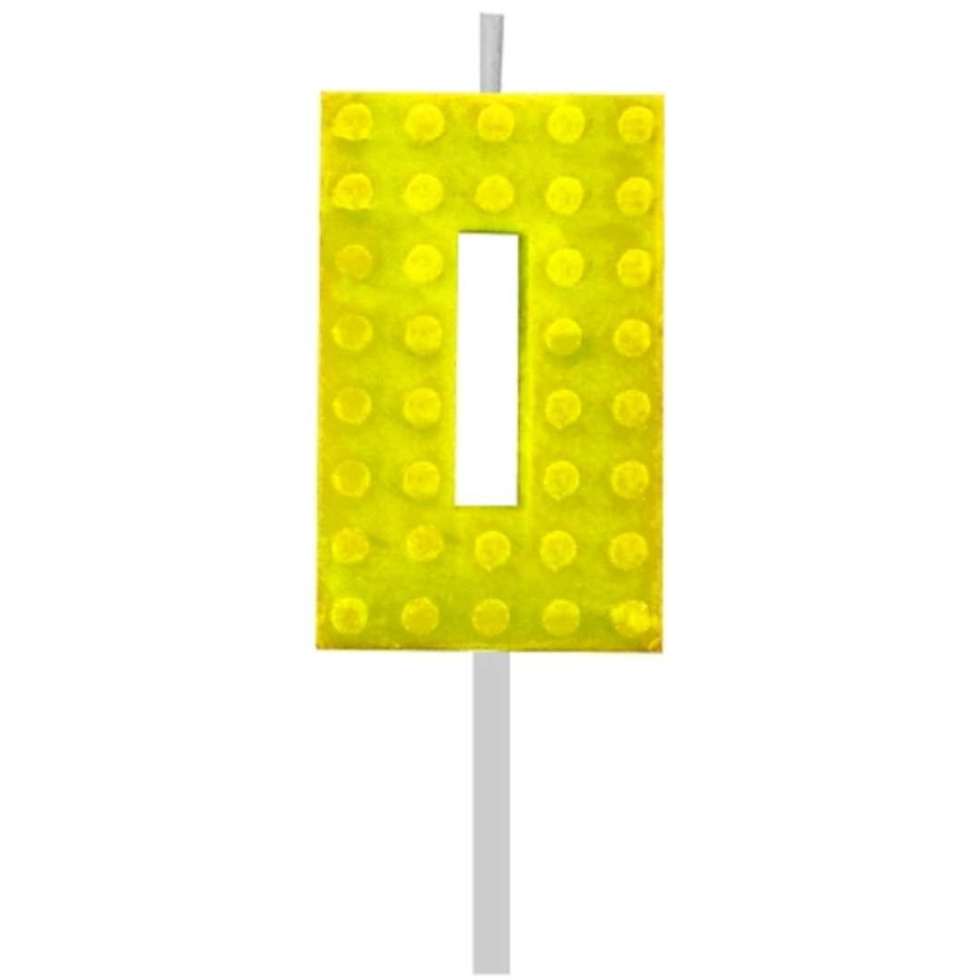 """Świeczka na tort """"Klocki - Cyfra 0"""", żółta, Godan, 5,5 cm"""