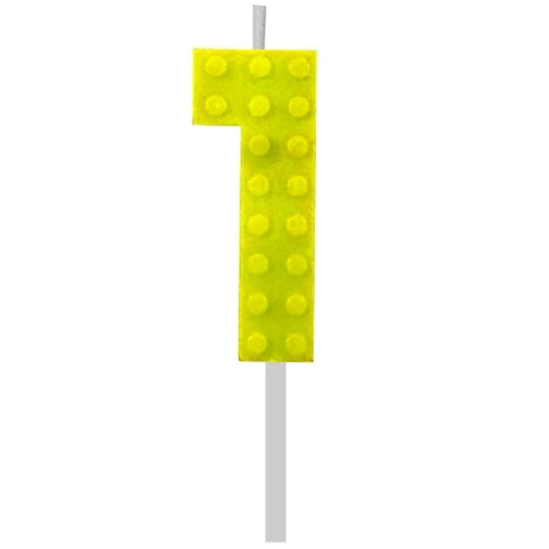 """Świeczka na tort """"Klocki - Cyfra 1"""", żółta, Godan, 5,5 cm"""