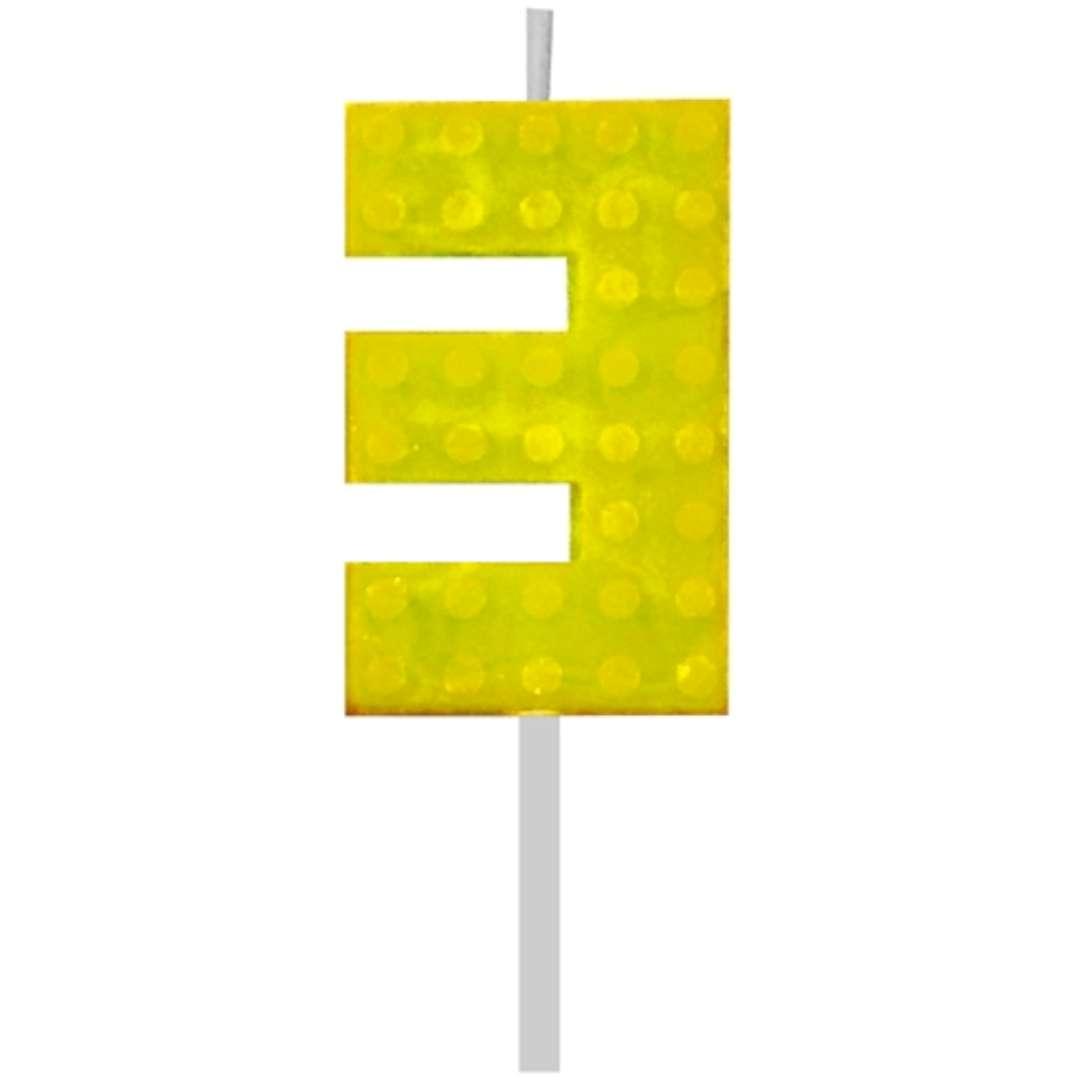 """Świeczka na tort """"Klocki - Cyfra 3"""", żółta, Godan, 5,5 cm"""
