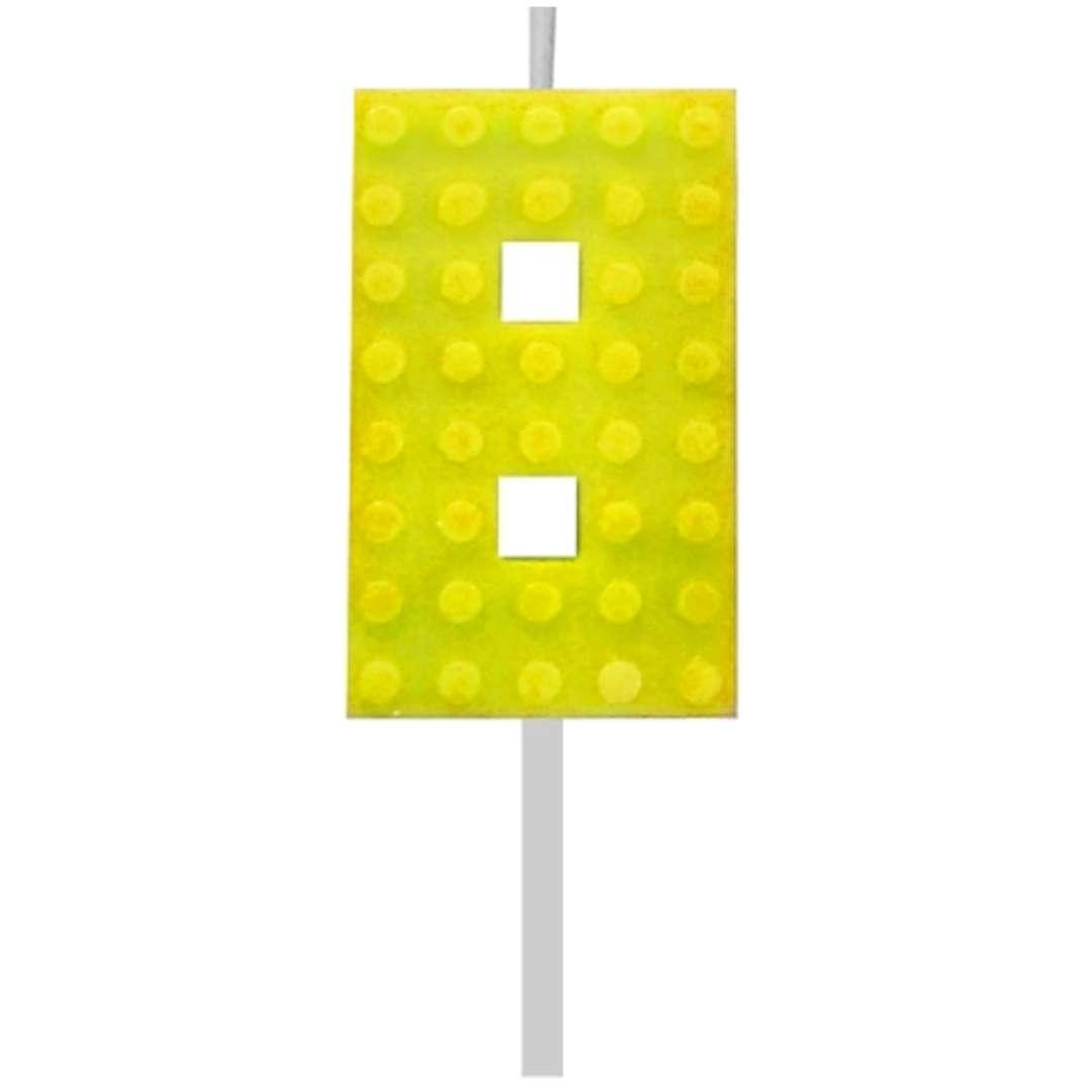 """Świeczka na tort """"Klocki - Cyfra 8"""", żółta, Godan, 5,5 cm"""