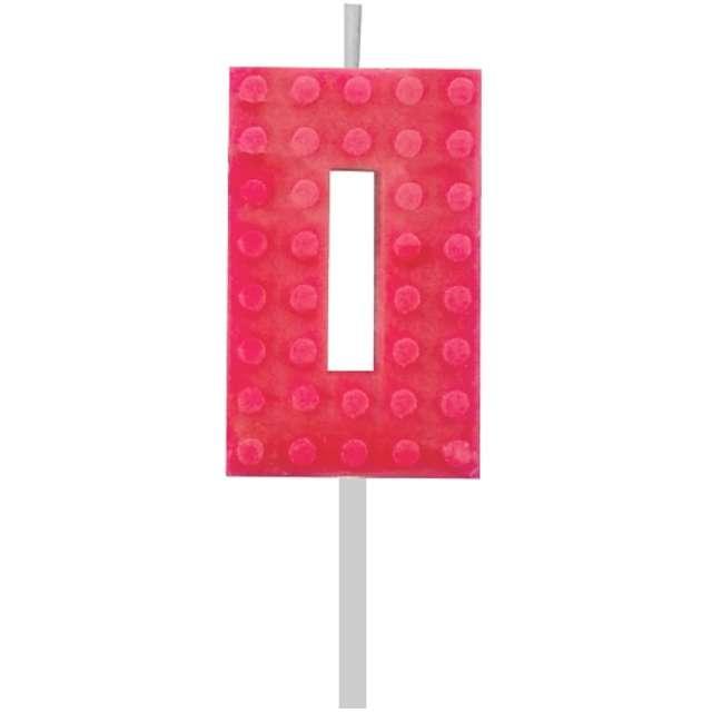 """Świeczka na tort """"Klocki - Cyfra 0"""", czerwona, Godan, 5,5 cm"""