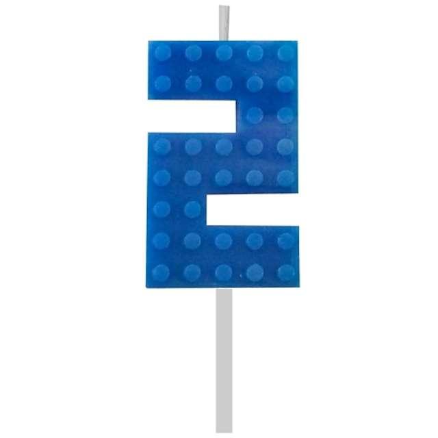 Świeczka na tort Klocki - Cyfra 2 niebieski Godan 55 cm