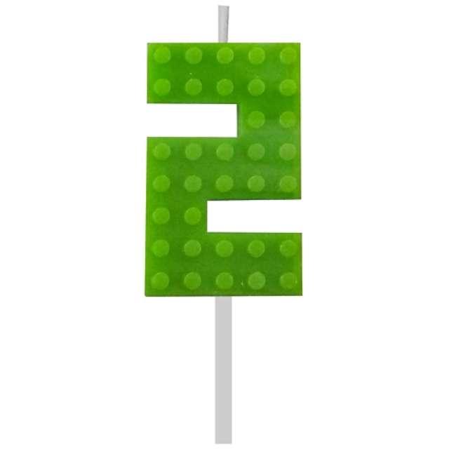 """Świeczka na tort """"Klocki - Cyfra 2"""", zielony, Godan, 5,5 cm"""