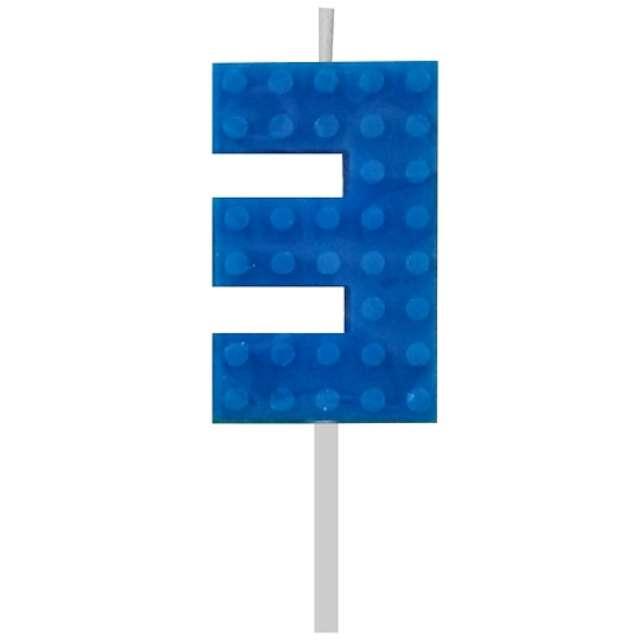 Świeczka na tort Klocki - Cyfra 3 niebieska Godan 55 cm