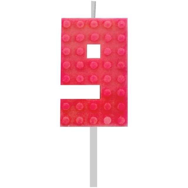 Świeczka na tort Klocki - Cyfra 9 czerwona Godan 55 cm