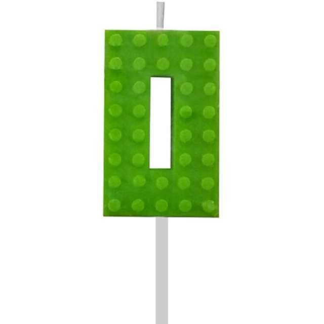 """Świeczka na tort """"Klocki - Cyfra 0"""", zielona, Godan, 5,5 cm"""