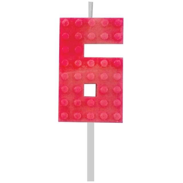 """Świeczka na tort """"Klocki - Cyfra 6"""", czerwona, Godan, 5,5 cm"""