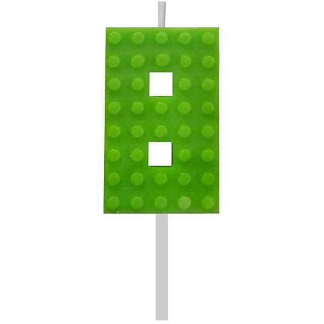 """Świeczka na tort """"Klocki - Cyfra 8"""", zielona, Godan, 5,5 cm"""
