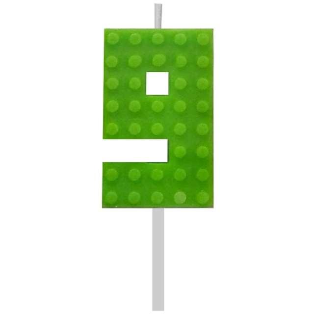 """Świeczka na tort """"Klocki - Cyfra 9"""", zielona, Godan, 5,5 cm"""