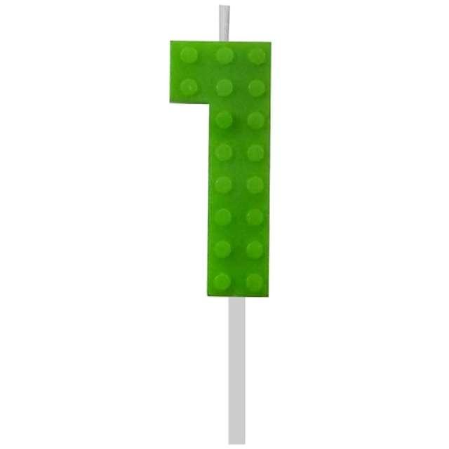 """Świeczka na tort """"Klocki - Cyfra 1"""", zielona, Godan, 5,5 cm"""