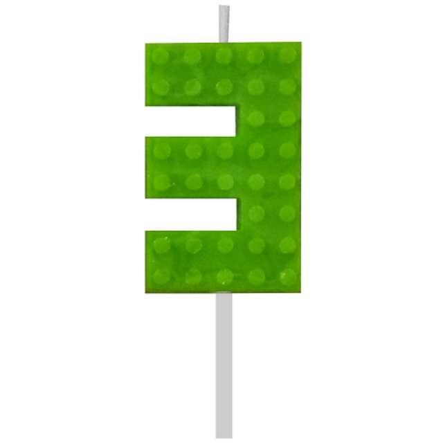 """Świeczka na tort """"Klocki - Cyfra 3"""", zielona, Godan, 5,5 cm"""