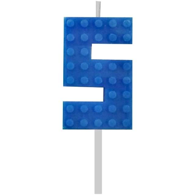 """Świeczka na tort """"Klocki - Cyfra 5"""", niebieska, Godan, 5,5 cm"""