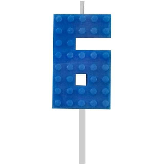 Świeczka na tort Klocki - Cyfra 6 niebieska Godan 55 cm