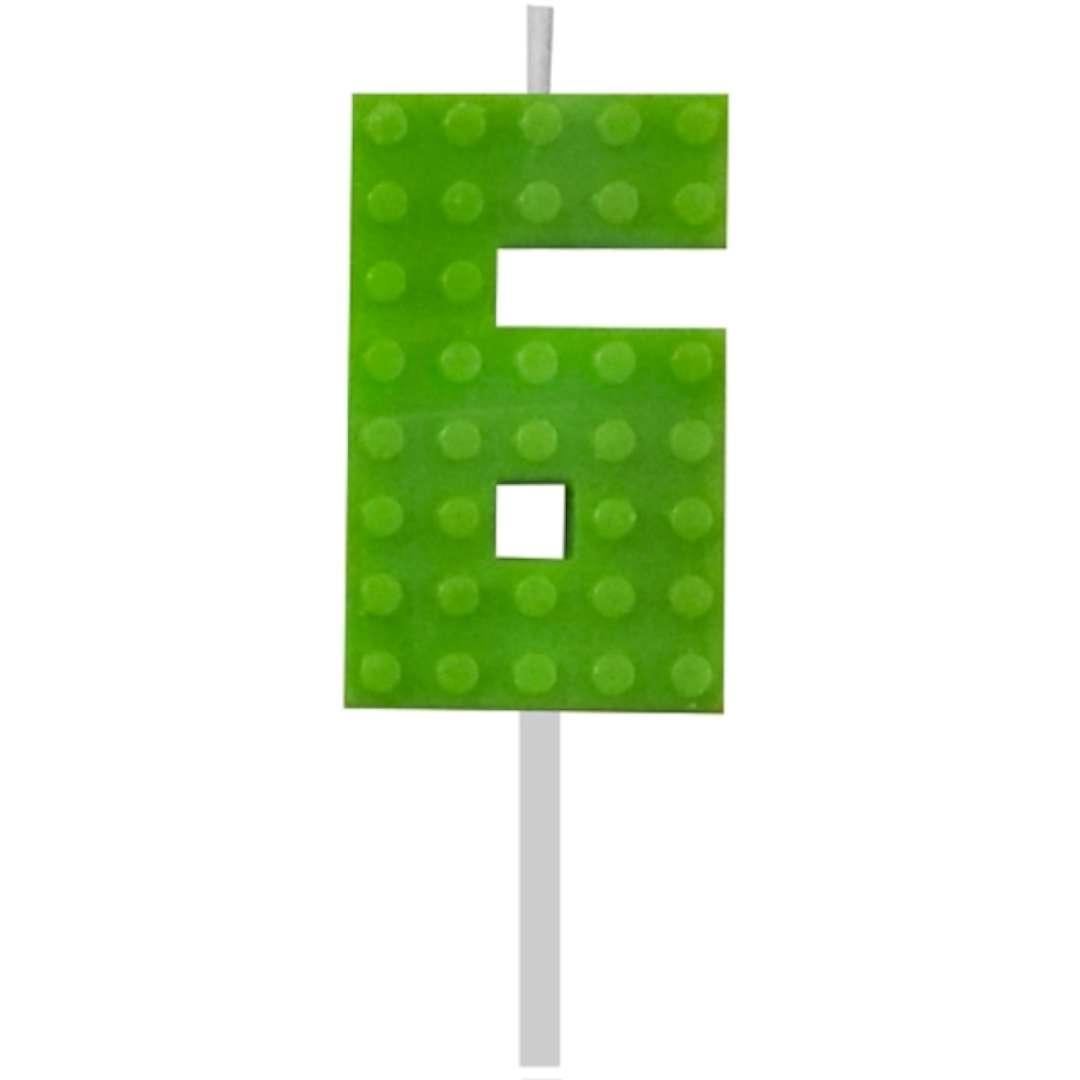 Świeczka na tort Klocki - Cyfra 6 zielona Godan 55 cm