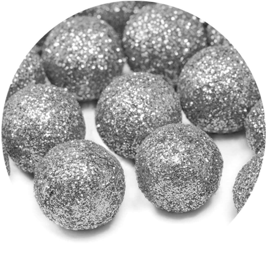 """Dekoracje brokatowe """"Kula"""", srebrny, PartyDeco, 25szt"""