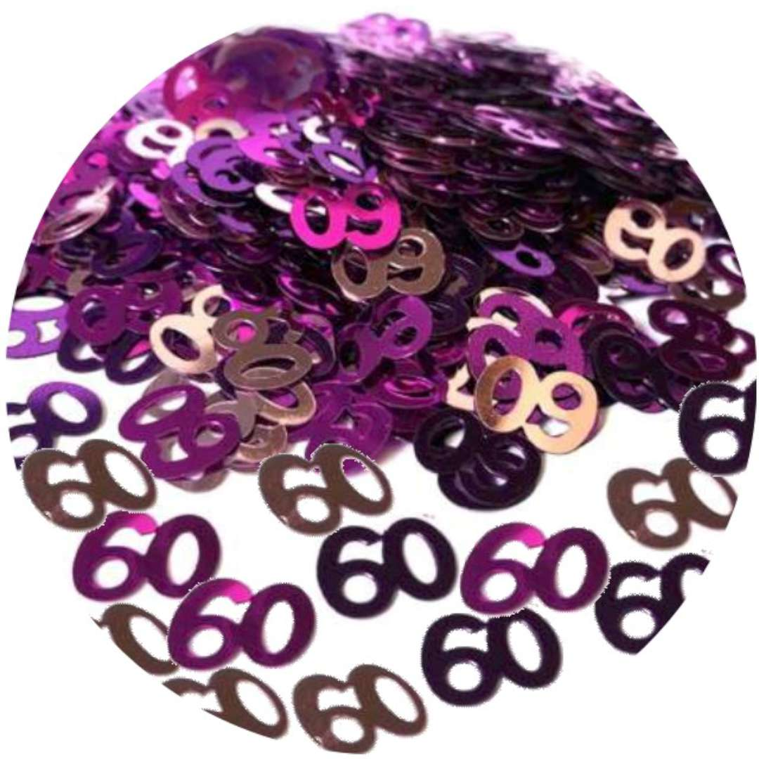 """Konfetti """"60"""", różowo-fioletowe, AMSCAN, 14g"""
