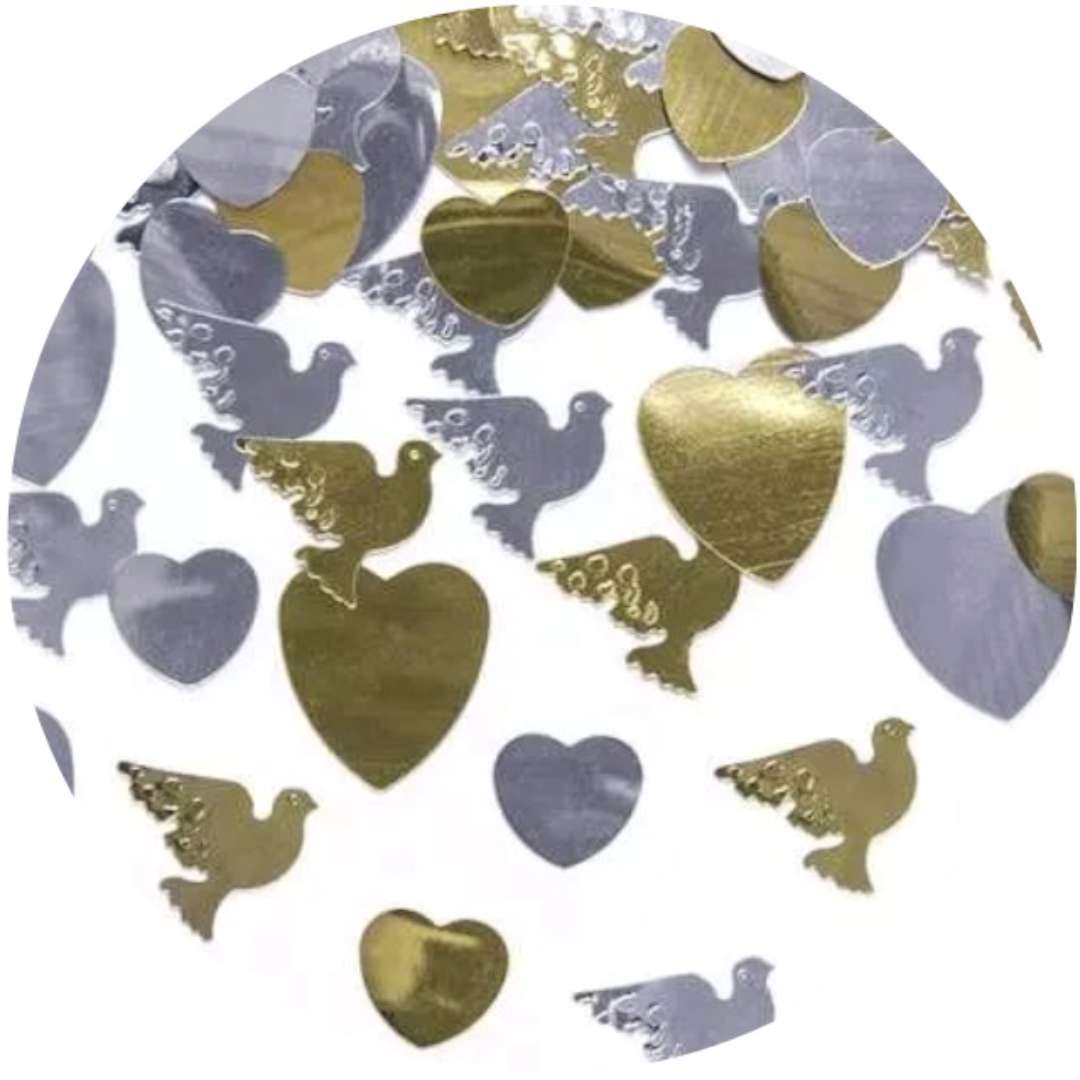 Konfetti metalizowane serca/gołąbki, 14g, 1 op.