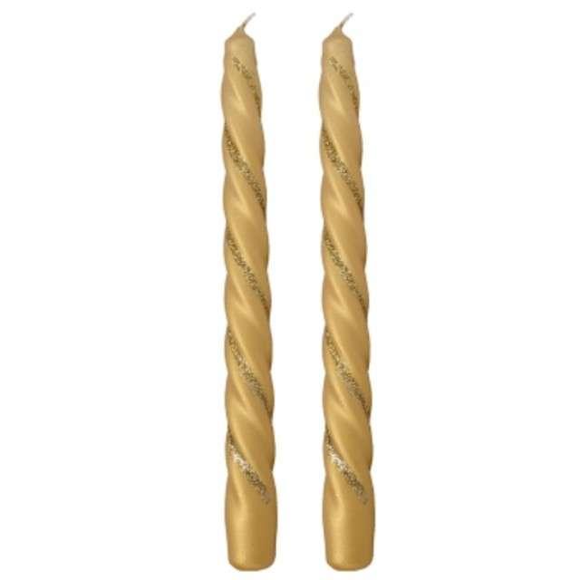 """Świeczka """"Spiralna stożkowa"""", złota mat z brokatem, RAVI, 2 szt"""