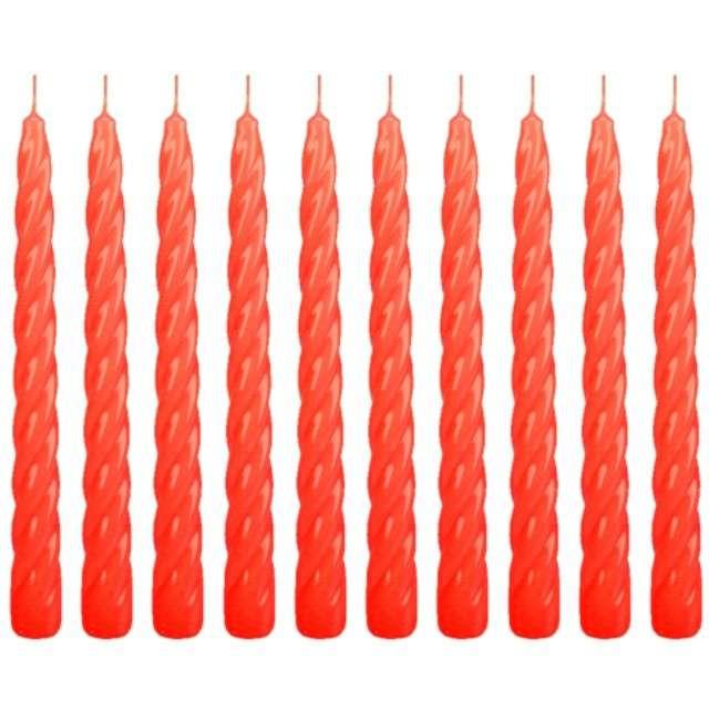 Świeczka Spiralna stożkowa czerwona RAVI 10 szt