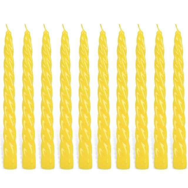 """Świeczka """"Spiralna stożkowa"""", żółta, RAVI, 10 szt"""