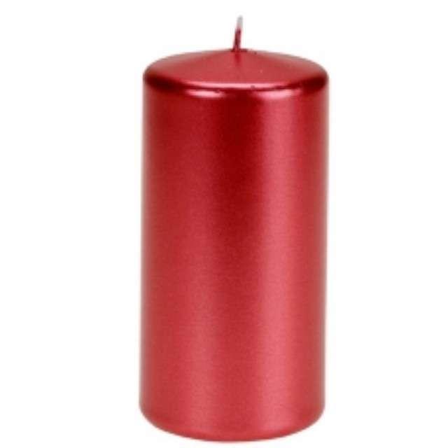 """Świeca """"Pieńkowa metalik"""", czerwona, 120 mm, Ravi"""