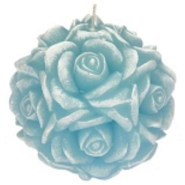 """Świeca zapachowa """"Słodka Róża"""", biało-niebieska, 10cm, Ravi"""