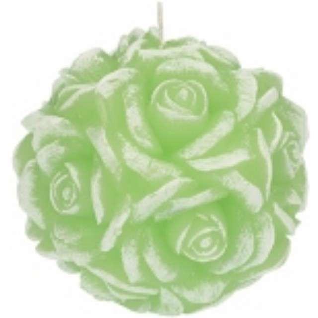"""Świeca zapachowa """"Słodka Róża"""", biało-zielona, 10cm, Ravi"""