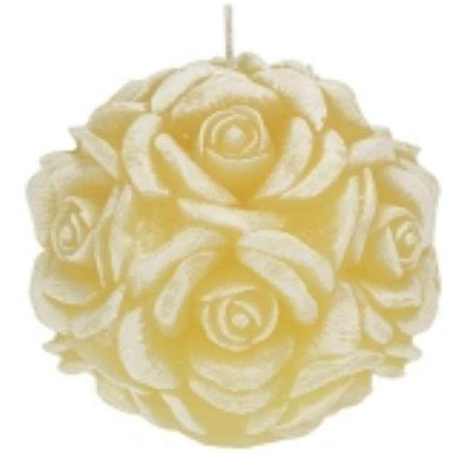 """Świeca zapachowa """"Słodka Róża"""", biało-żółta, 10cm, Ravi"""