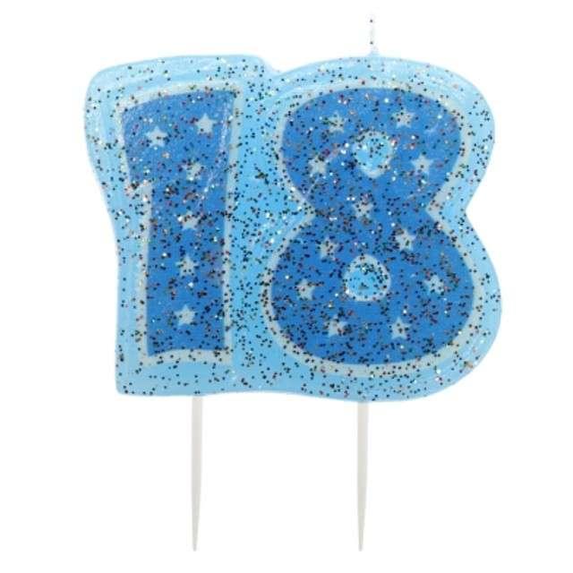 Świeczka na tort Cyfra 18 - Niebieskie gwiazdki Ravi