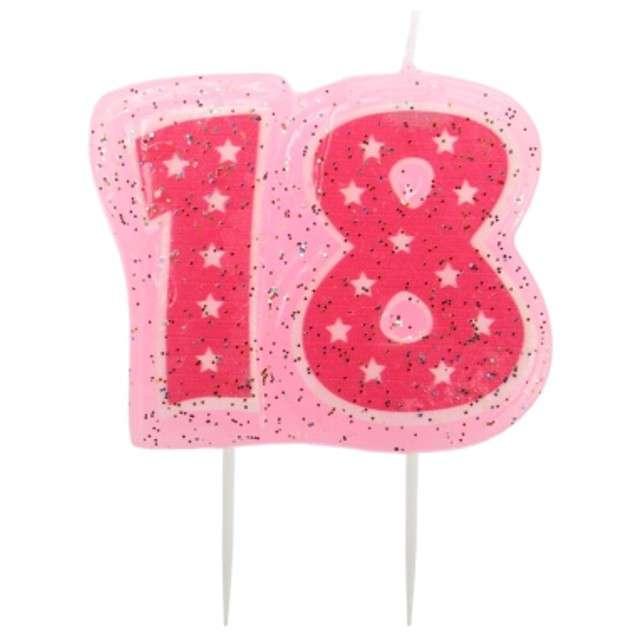"""Świeczka na tort """"Cyfra 18 - Różowe gwiazdki"""", Ravi"""