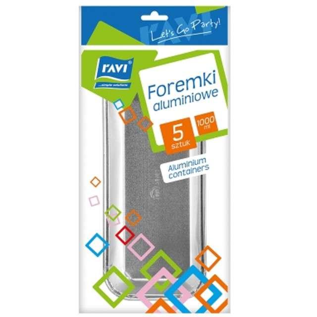 Foremki do pieczenia Aluminiowe prostokątne 1000ml Ravi 5 szt
