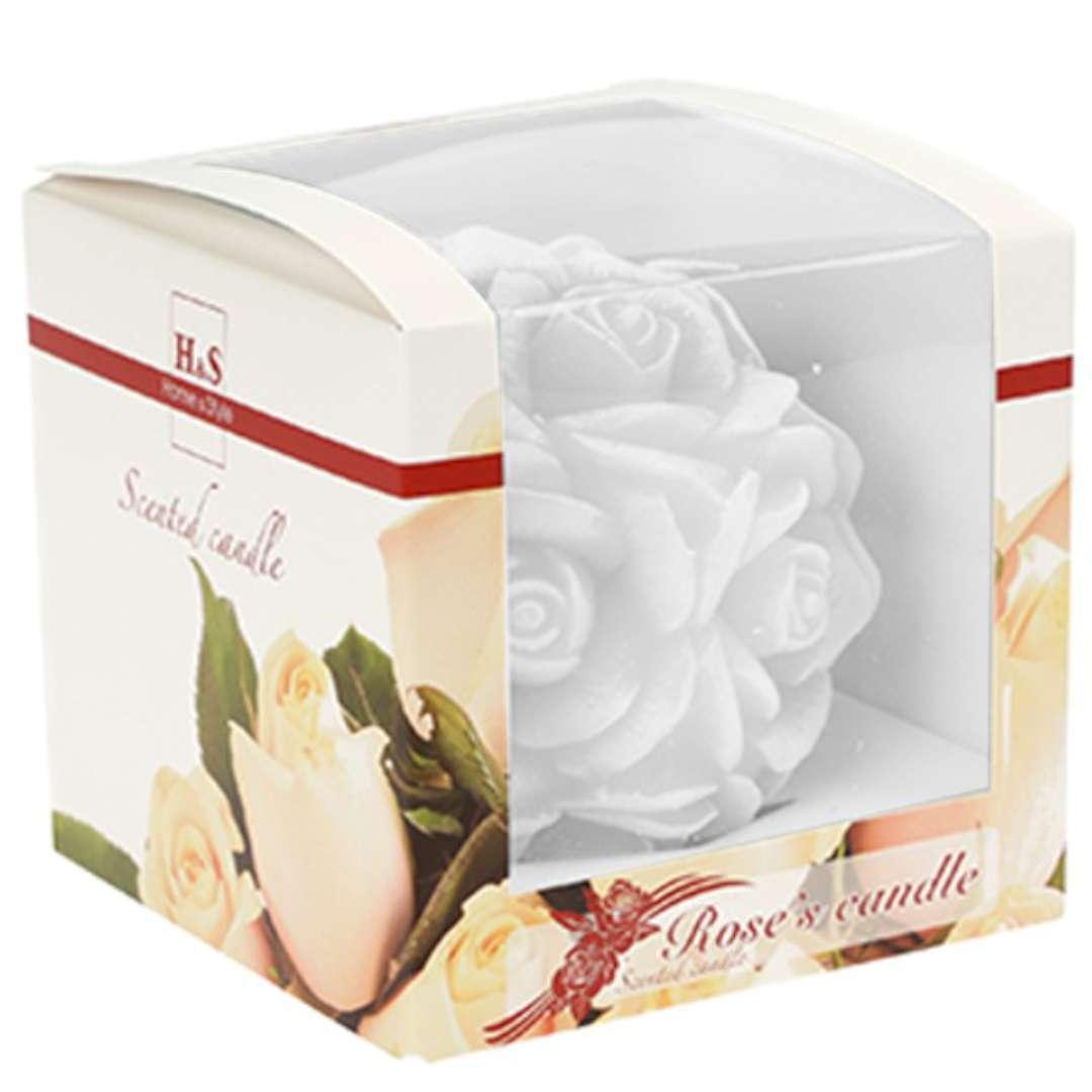 Świeca zapachowa Słodka Róża biało-różowa 10cm Ravi