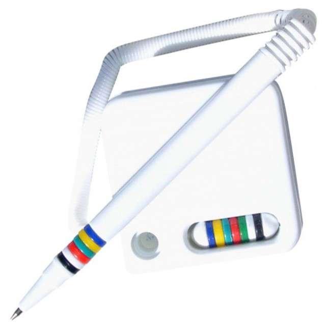 """Długopis z przylepcem """"Kwadratowa podstawka"""", biały, Titanum, 0,7 mm"""