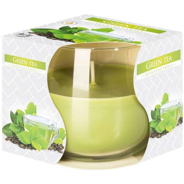 """Świeca zapachowa w szkle """"Zielona herbata"""", Bispol, 7 cm"""