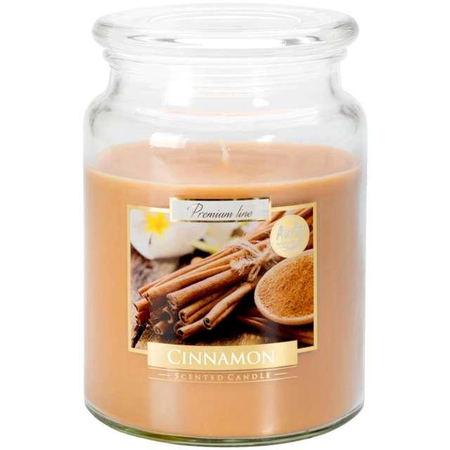 Świeca zapachowa w szkle Słoik XL - Cynamon Bispol 100 h 14 cm