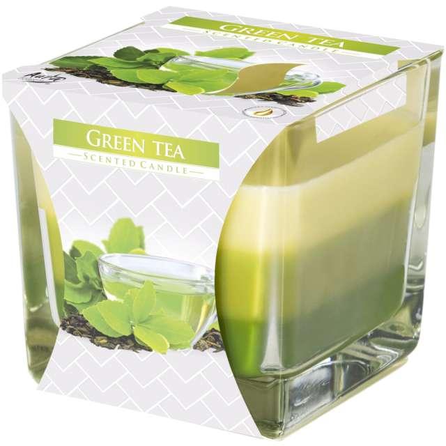 """Świeca zapachowa w szkle """"Trójbarwna Zielona herbata"""", Bispol, 8x8 cm"""