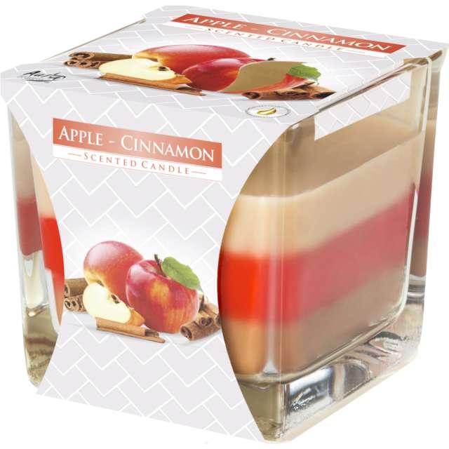 """Świeca zapachowa w szkle """"Trójbarwna Jabłko z cynamonem"""", Bispol, 8x8 cm"""